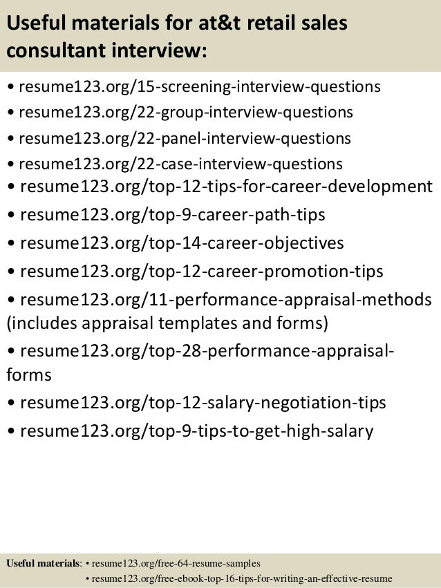 Top 8 At Amp T Retail Sales Consultant Resume Samples