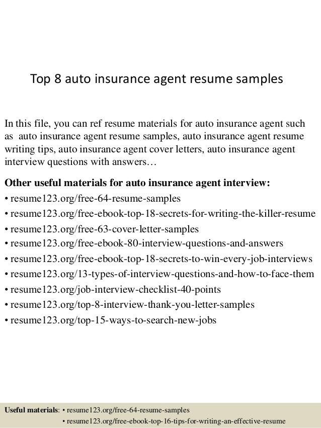 top 8 auto insurance resume sles