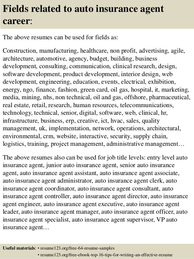 top auto insurance agent resume samples fields related to auto insurance agent