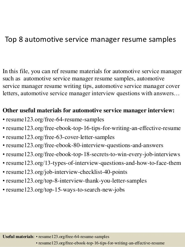 top 8 automotive service manager resume sles