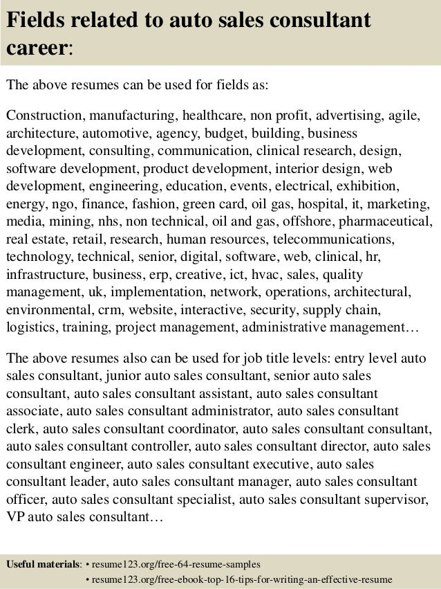top 8 auto sales consultant resume sles