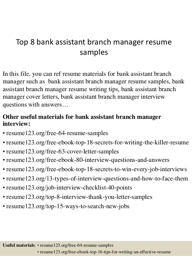 top 8 bank assistant branch manager resume sles