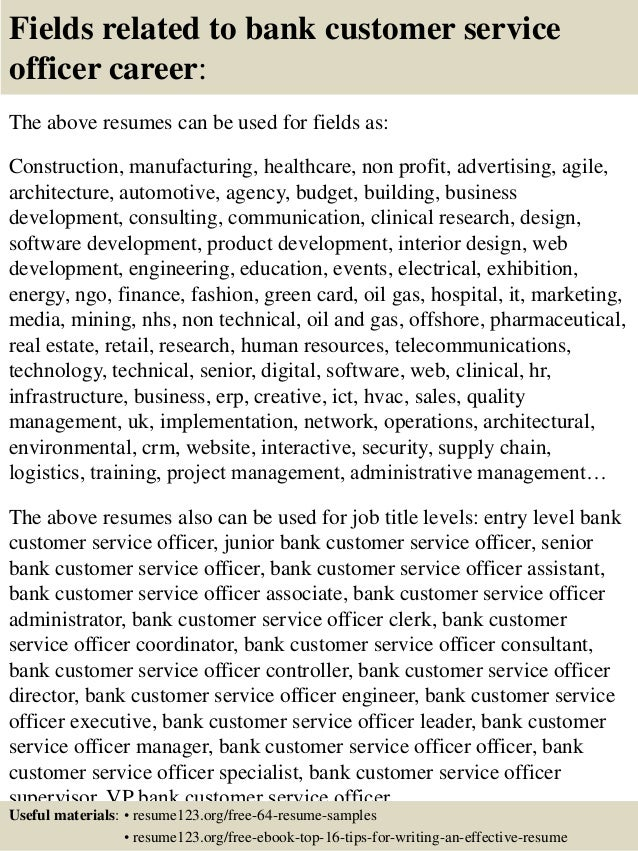 top  bank customer service officer resume samples       fields related to bank customer service
