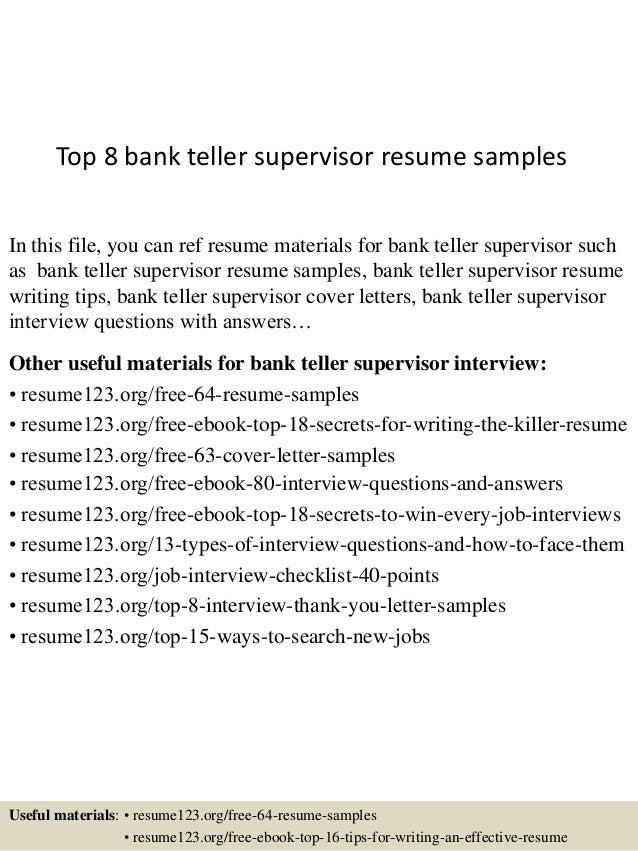 Cover letter for bank teller supervisor