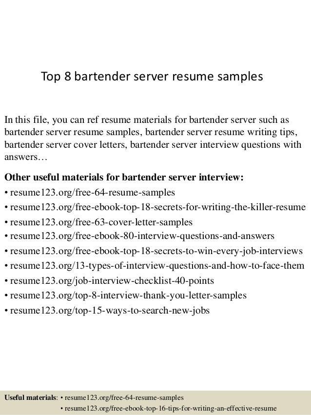 Sample Resume For A Bartender Server | Cipanewsletter