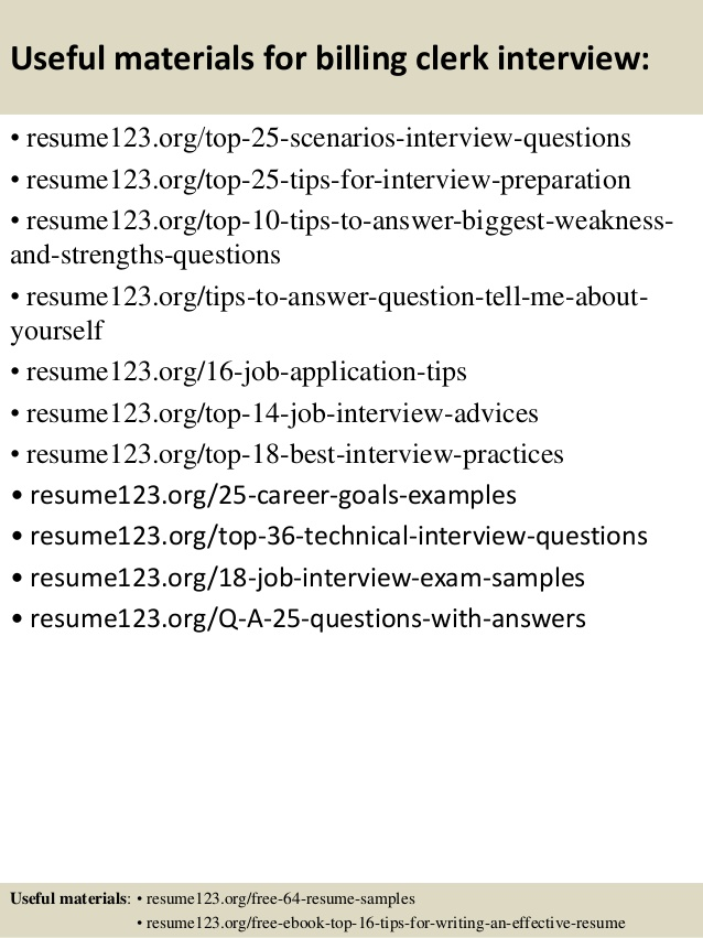 Billing clerk job resume