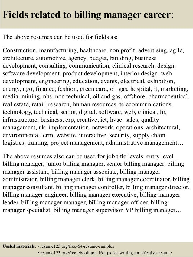 top  billing manager resume samples       fields related to billing manager