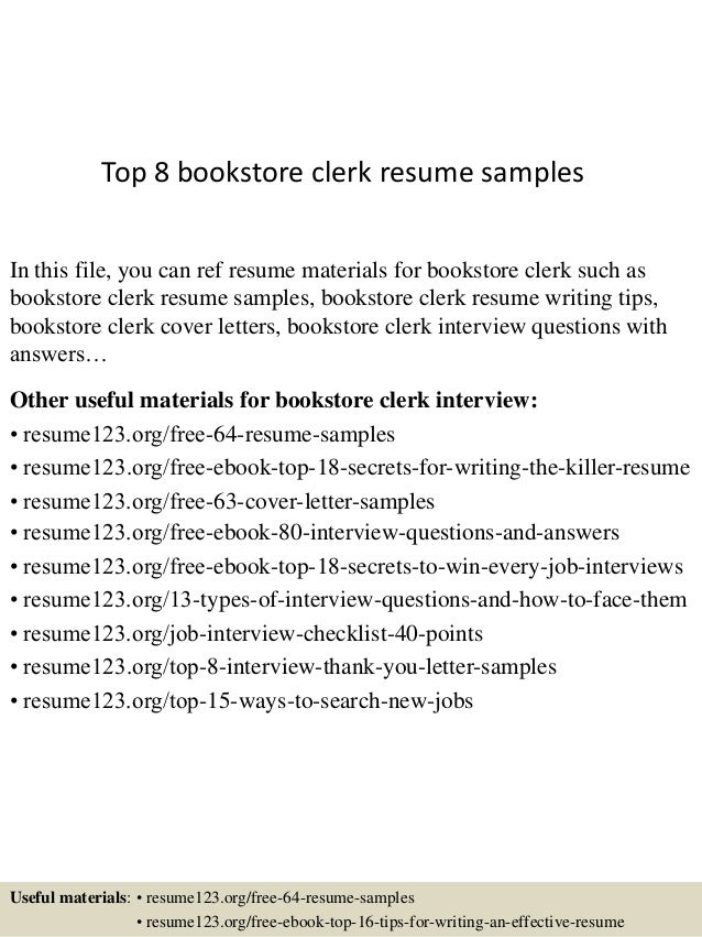 Top 8 Bookstore Clerk Resume Samples