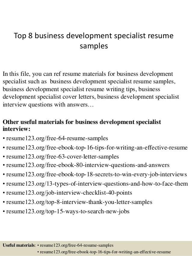 Business Development Specialist Sample Resume