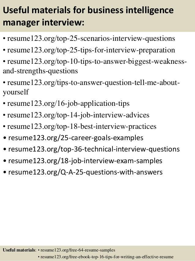 Business intelligence program manager resume