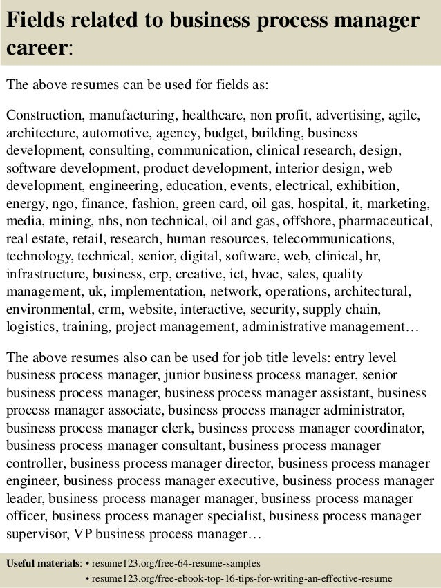 fields related to business process manager career the above resumes