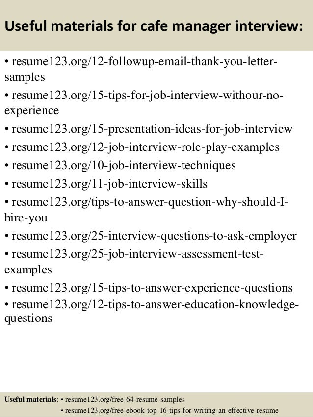 Top 8 cafe manager resume samples