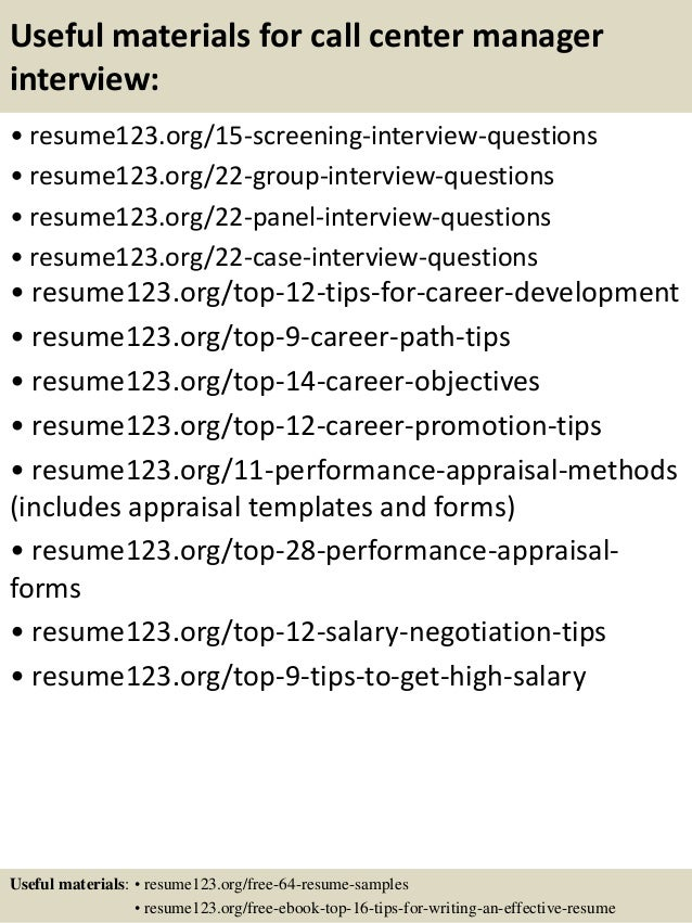 Top 8 call center manager resume samples
