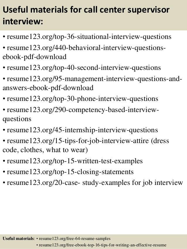 call center supervisor resume sample resume customer service ...