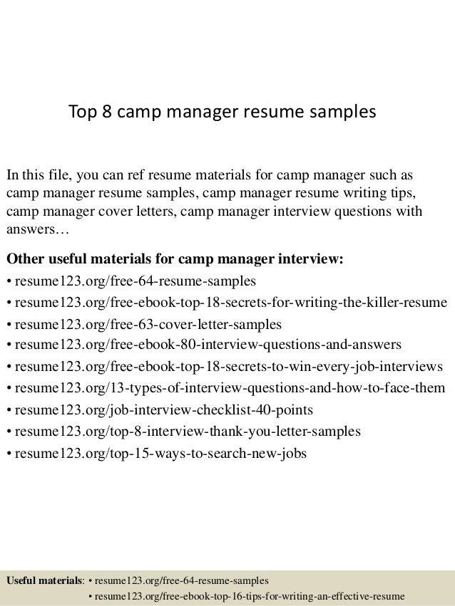 Camp Manager Sample Resume