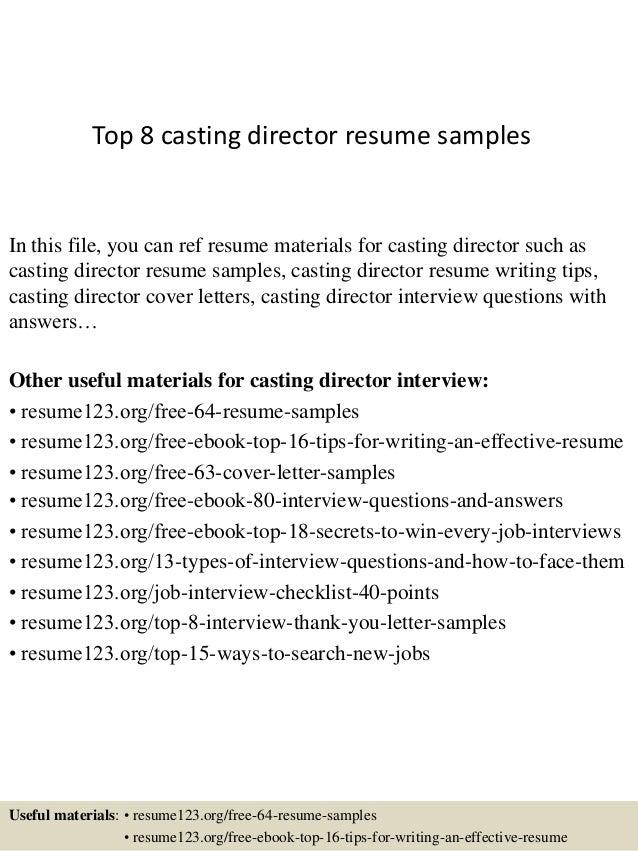 Casting Assistant Sample Resume