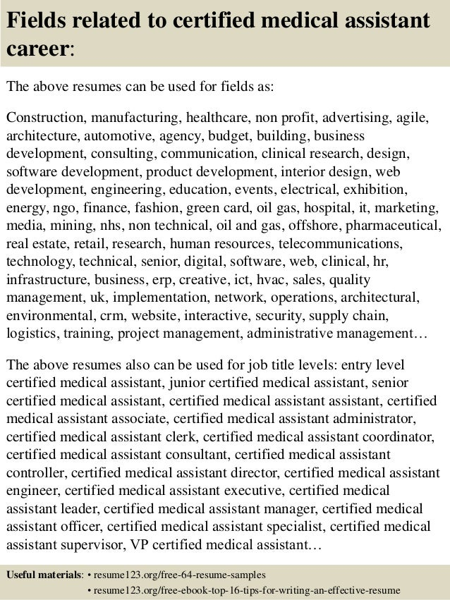 Certified Medical Assistant Resume Sample Certified Nursing
