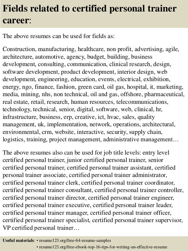 fields related to certified personal trainer career the above resumes