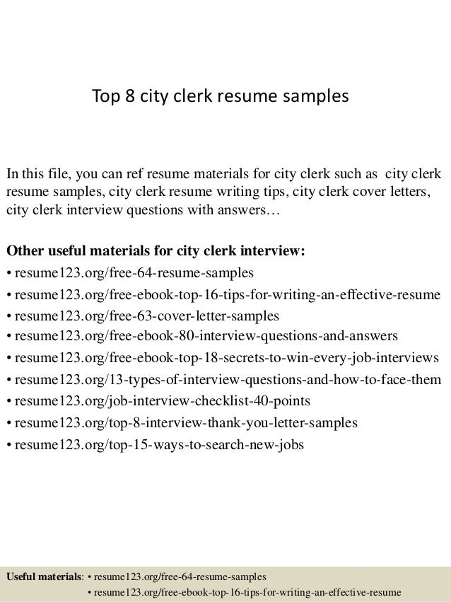 top 8 city clerk resume samples