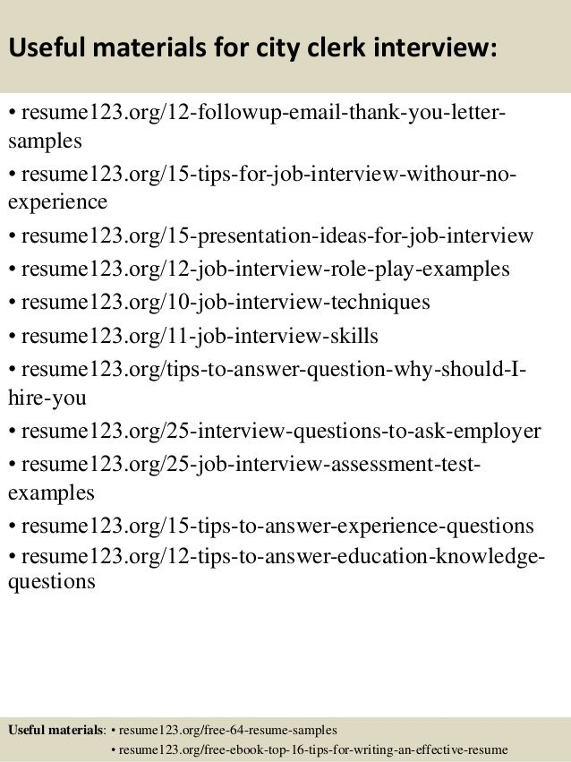 useful materials for city clerk interview resume123 org 12 followup
