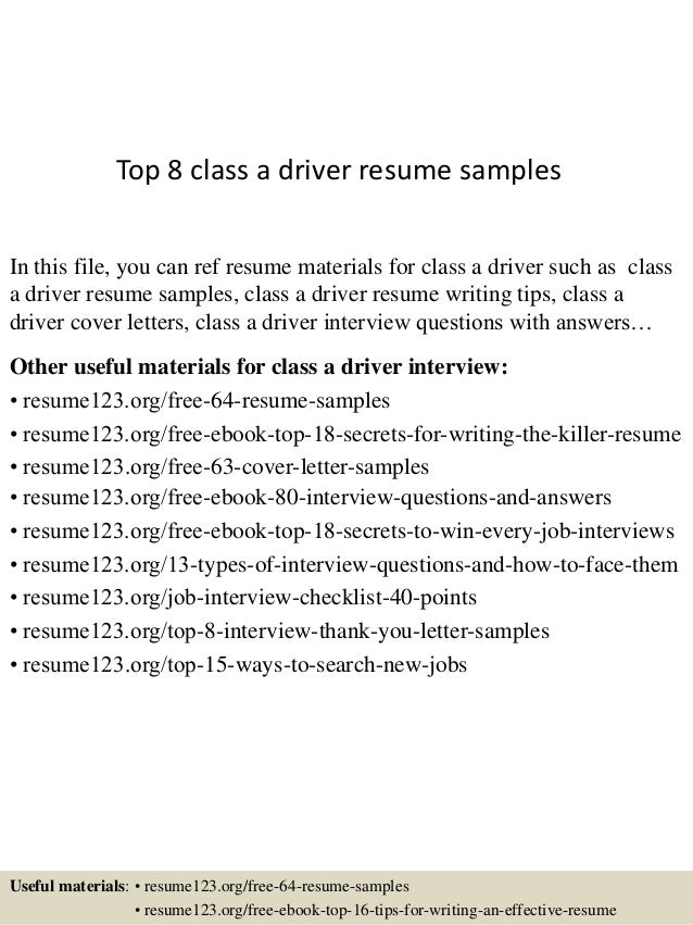 top 8 class a driver resume sles