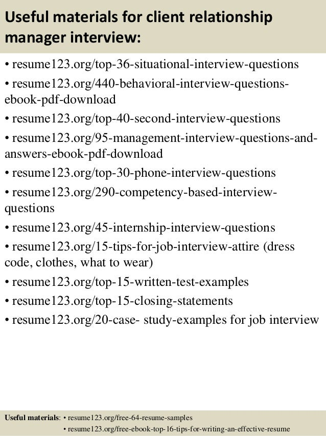 useful materials for client relationship manager interview resume123 ...