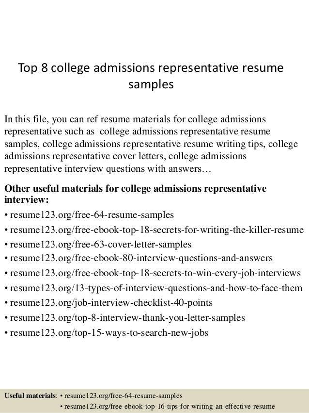Cover letter college admissions representative