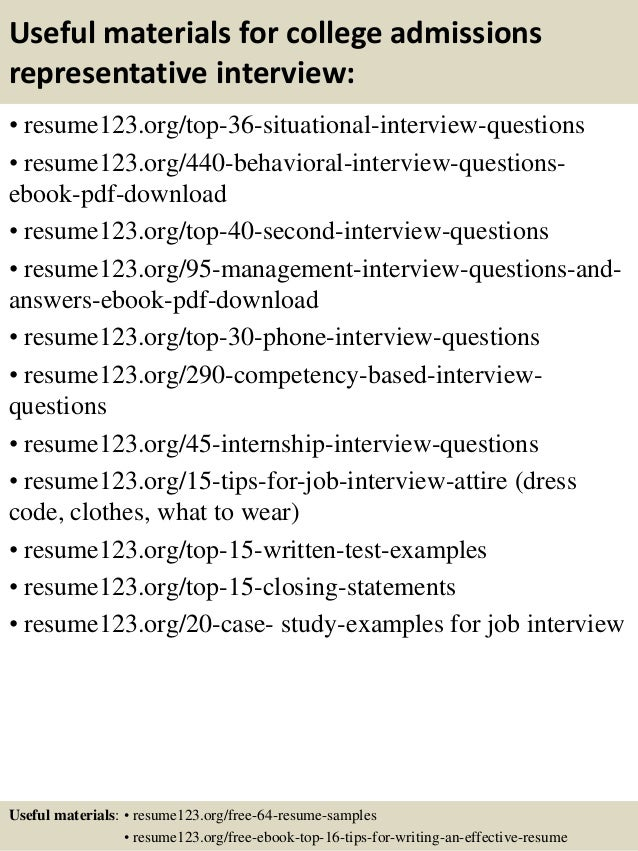 Resume for admissions representative for college