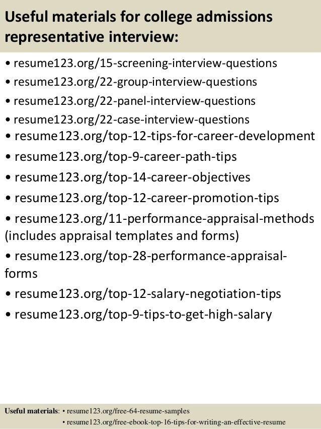 Top 8 College Admissions Representative Resume Samples 15 Useful Materials For