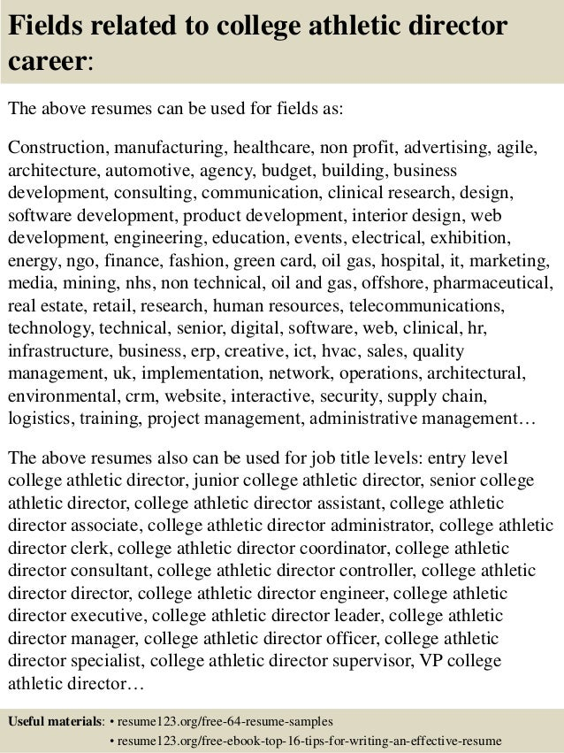 top 8 college athletic director resume samples