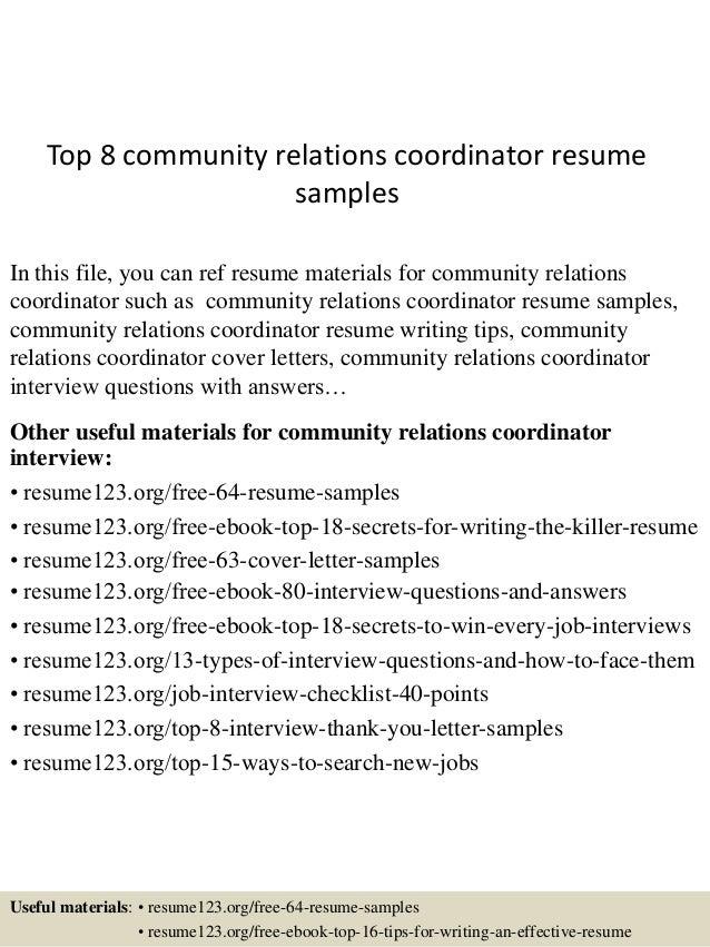 media relation coordinator resume
