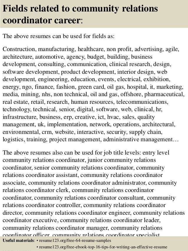 top  community relations coordinator resume samples       fields related to community relations