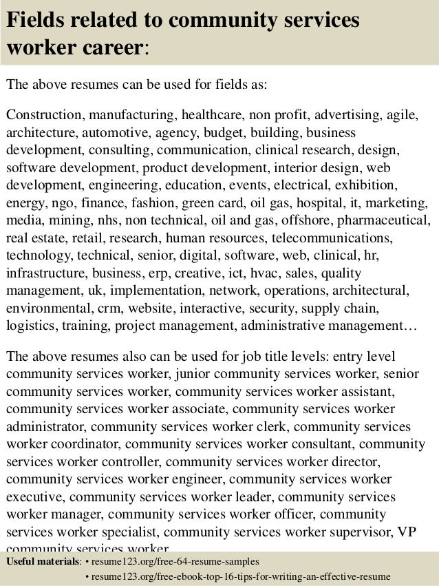 top 8 community services worker resume samples