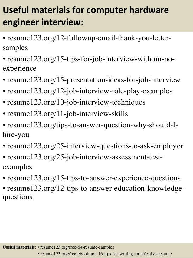 Top 8 computer hardware engineer resume samples