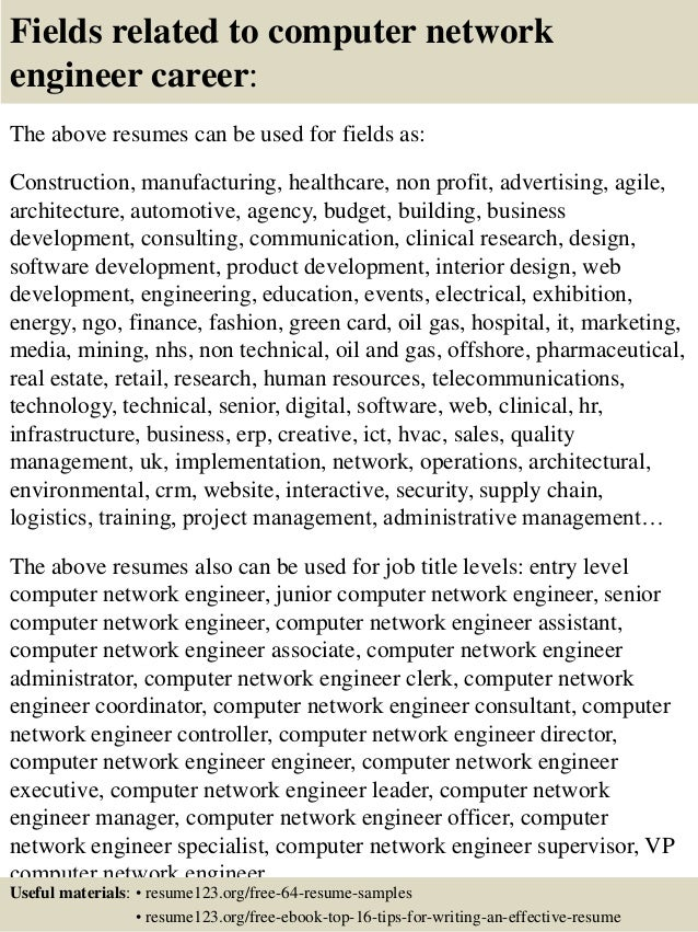 top  computer network engineer resume samples       fields related to computer network