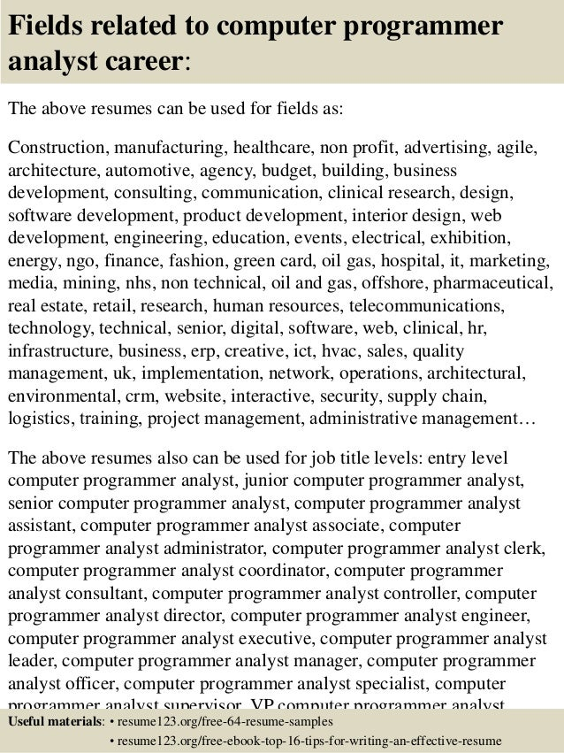 top computer programmer analyst resume samples  16 fields related to computer programmer analyst