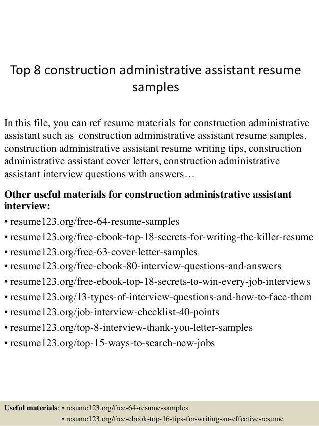 top 8 construction administrative assistant resume sles