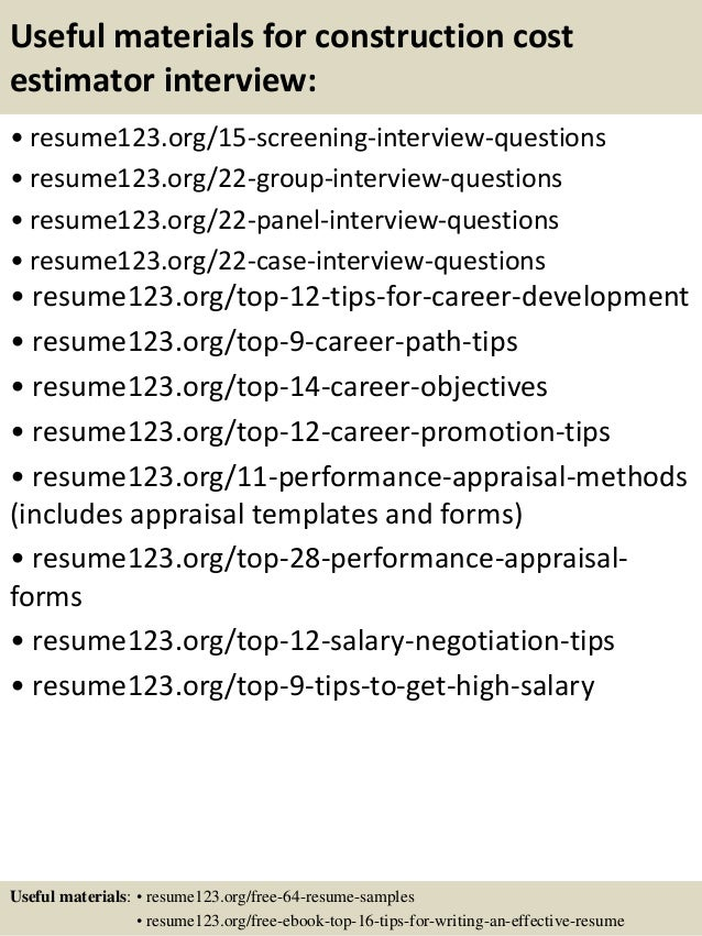 top 8 construction cost estimator resume sles