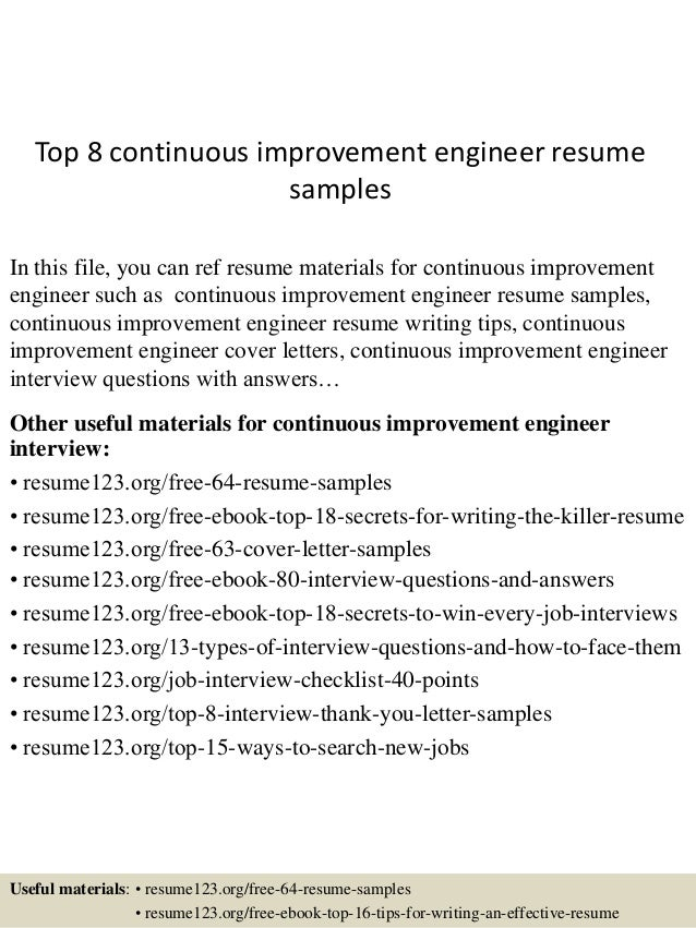 top 8 continuous improvement engineer resume sles