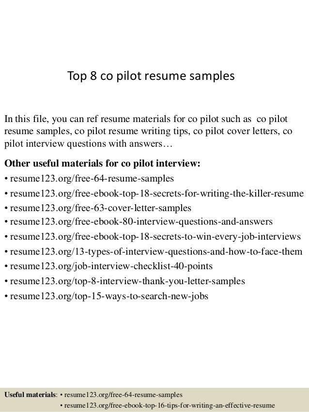 Top 8 co pilot resume samples