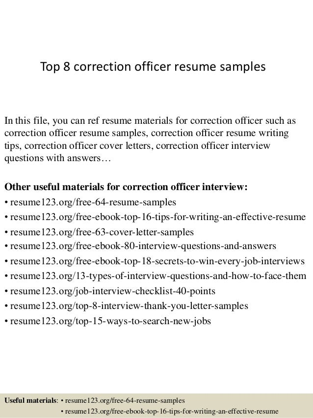 Top 8 Correction Officer Resume Samples In This File You Can Ref Materials For