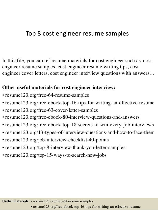 Cost engineer sample resume