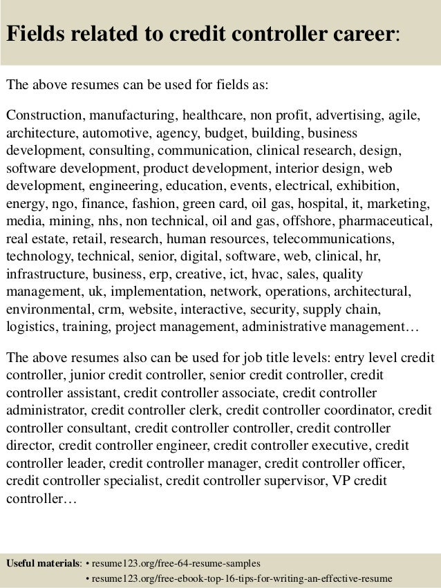 fields related to credit controller career the above resumes can