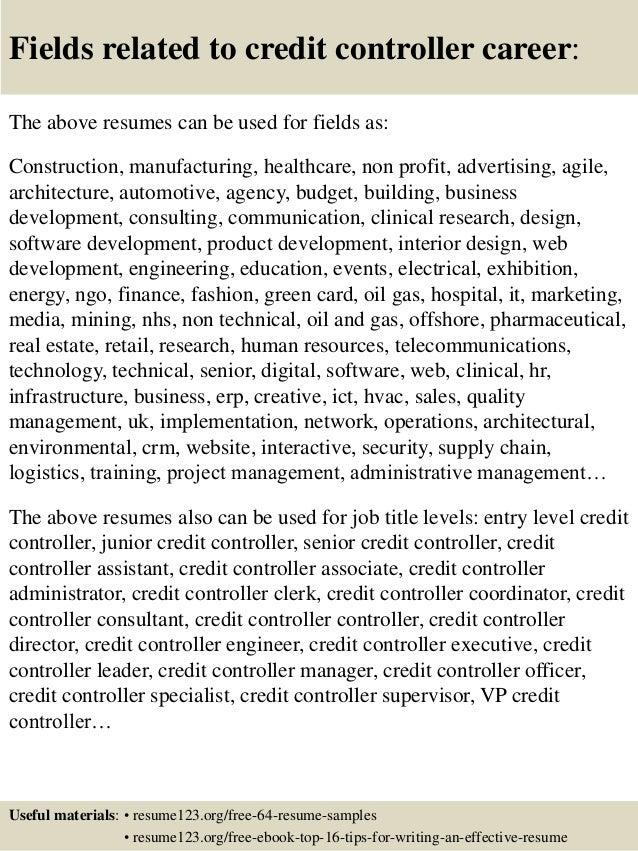 Top 8 credit controller resume samples