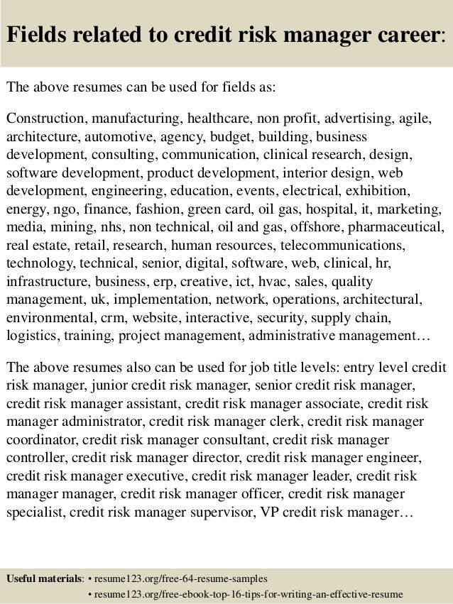 credit risk resumes