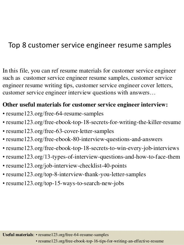 top 8 customer service engineer resume sles