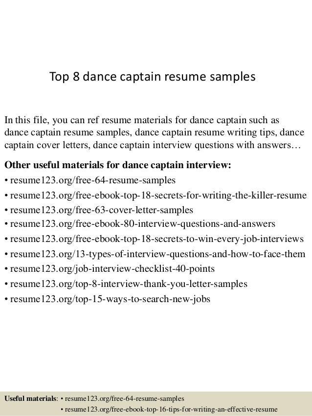 dance resume outline