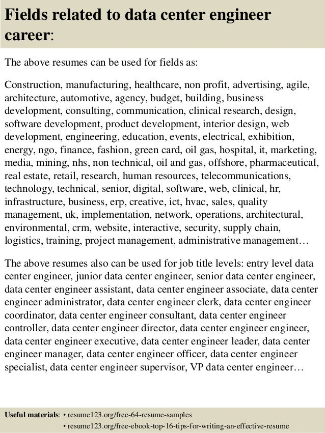 top 8 data center engineer resume samples