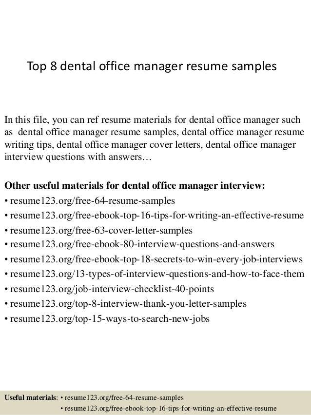 Top 8 dental office manager resume samples