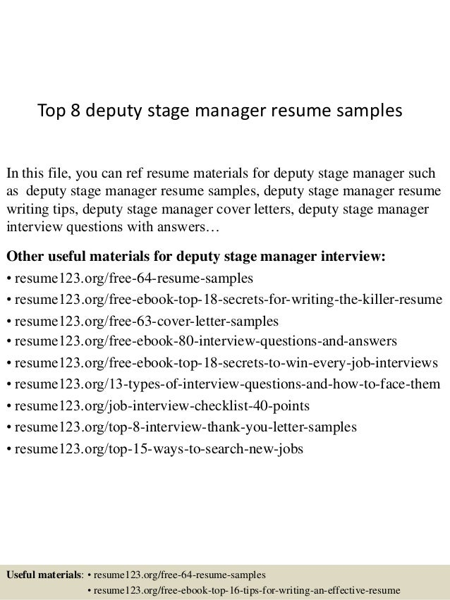 top 8 deputy stage manager resume samples